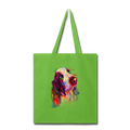 Hand painted bassethound Tote Bag - lime green