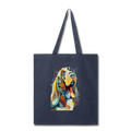 Hand painted bassethound-Tote Bag - navy