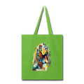 Hand painted bassethound-Tote Bag - lime green