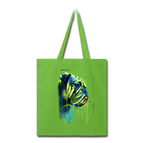 Hand painted BullDogs Tote Bag - lime green