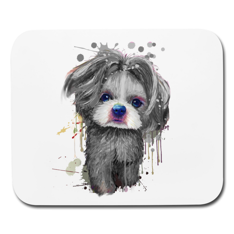Hand Painted Shih_Tzu Mouse pad Horizontal - white