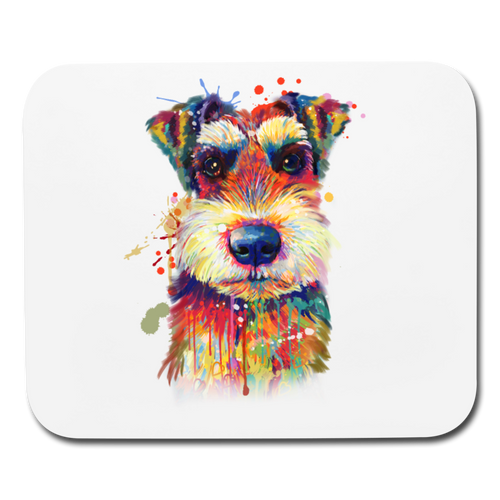 hand painted Schnauzer Mouse pad Horizontal - white