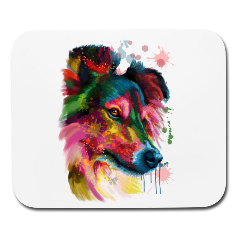 Hand Painted sheltie Mouse pad Horizontal - white
