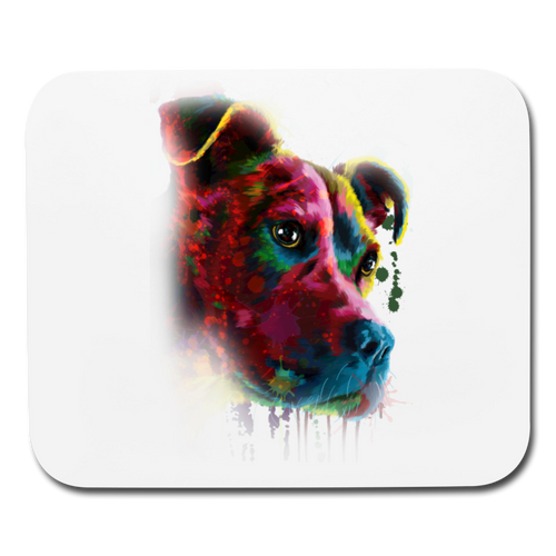 Hand painted pitbull Mouse pad Horizontal - white