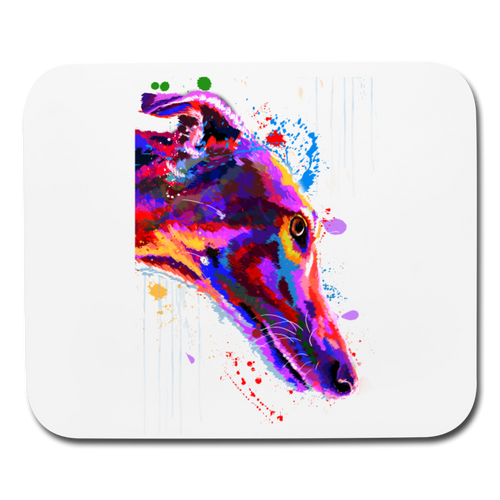 hand painted greyhound Mouse pad Horizontal - white