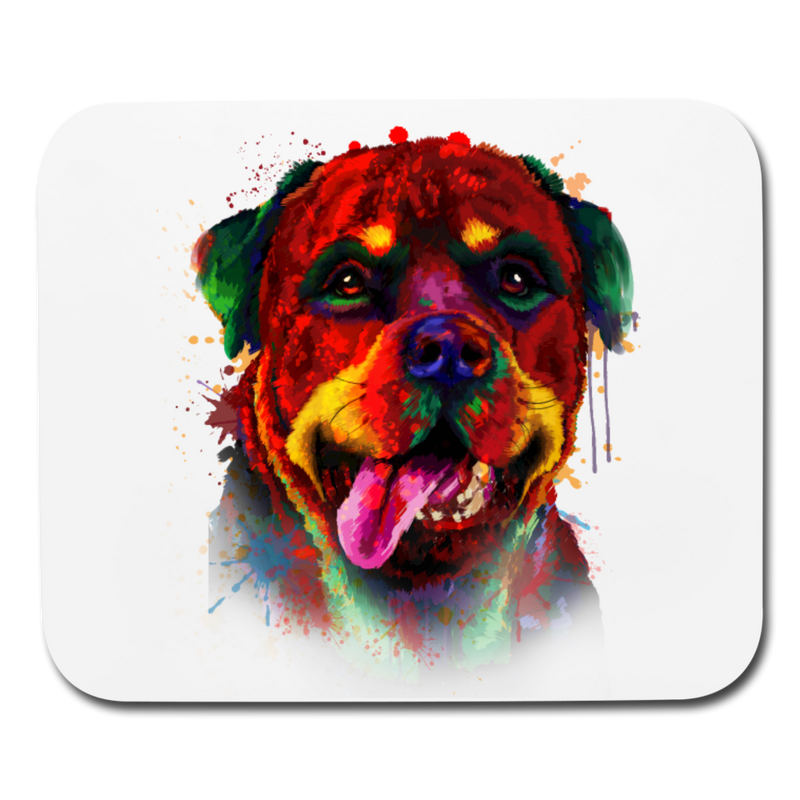 Hand painted rottweiler Mouse pad Horizontal - white