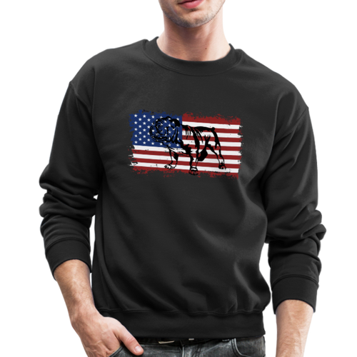 VINTAGE ENGLISH BULLDOG AMERICAN Crewneck Sweatshirt - black