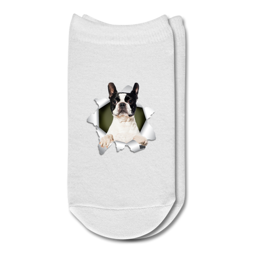 BOSTON_TERRIER 3D Ankle Socks - white