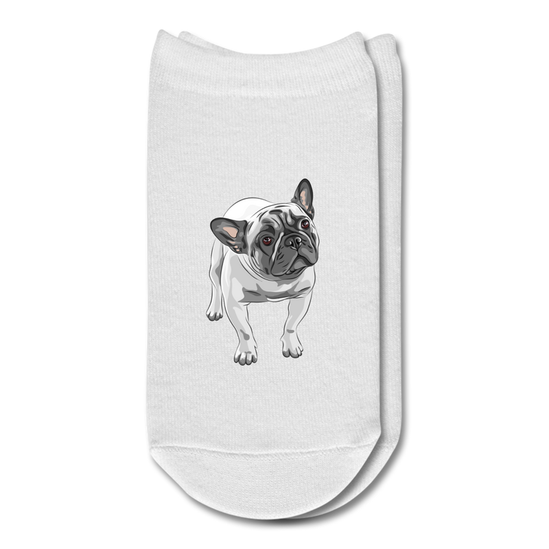 Funny_English_Bulldog 3D Ankle Socks - white