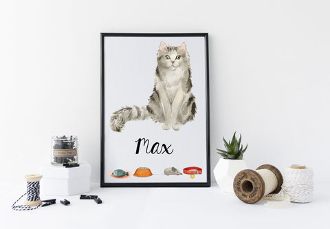 Ragamuffin Cat Portrait - Birthday Gift for Cat Lovers