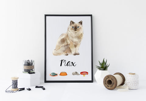 Ragdoll Cat Portrait - Birthday Gift for Cat Lovers