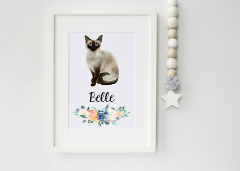 Siamese Cat Portrait - Birthday Gift for Cat Lovers