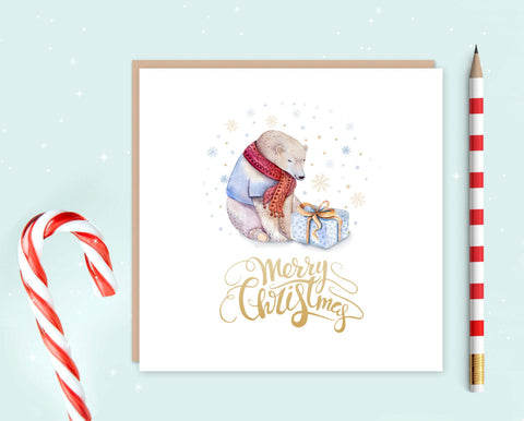 Polar Bear Christmas Card Pack of Ten