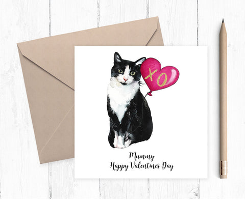 Black and White Cat Valentine Card - valentine card for cat lovers - cat mum card - cat dad card
