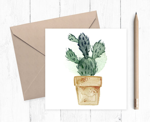 Cactus Plant Blank Greeting Card - greeting card - cactus card- succulent card - ideal for cactus lovers