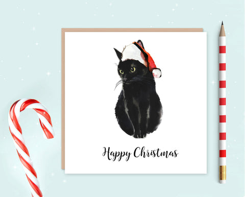 Black Cat Christmas Card - Christmas Gift for Cat Lovers