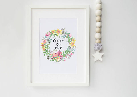 Baby Girl Flower Wreath Art Print - art print - baby print - ideal new baby gift - nursery print