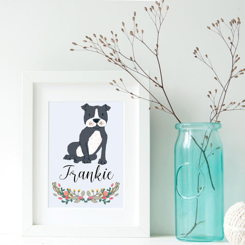 Staffordshire Bull Terrier Dog Portrait - Birthday Gift for Dog Lovers