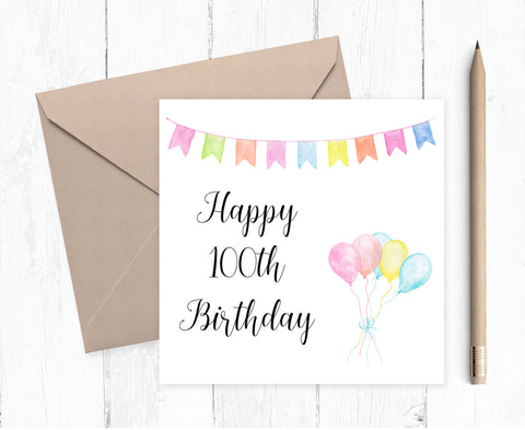 Age Birthday Card for 100 year old - 100th card - 100th card for her - 100 card, ladies 100th card - 100 year old birthday card
