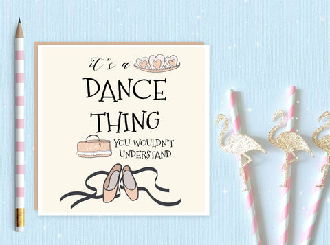 Ballerina Blank Greeting Card - ballet card - ballet - ballerina - dance card - ideal for ballet lovers and ballerina's