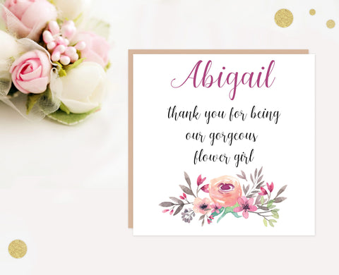 Flower Girl wedding thank you card