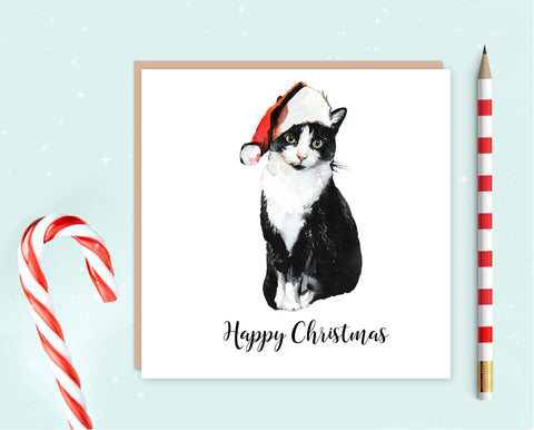 Black and White Cat Christmas Cards - Pack of Ten - Christmas Gift for Cat Lovers