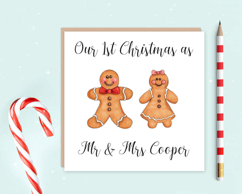 First Christmas as Mr & Mrs Card - Gingerbread Couple
