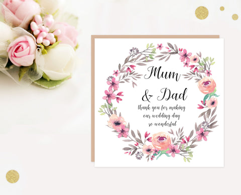 Mum and Dad wedding thank you card