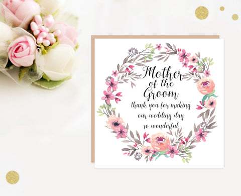Mother of the Groom wedding thank you card