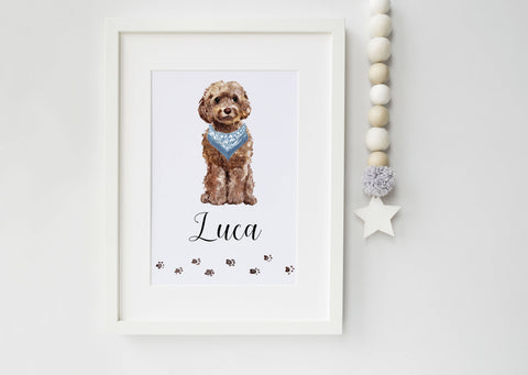 Cockapoo Dog Portrait - Birthday Gift for Dog Lovers - Cockapoo - Personalised Cockapoo Portrait