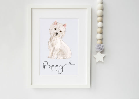 West Highland Terrier Print Dog Portrait - Ideal Christmas Gift for Dog Lovers - Westie Print - Personalised Westie Dog Portrait