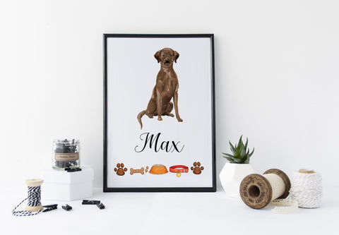 Chocolate Labrador Dog Portrait - Birthday Gift for Dog Lovers