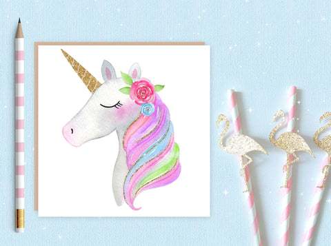Unicorn Greeting Card 5 - unicorn birthday card - unicorn blank greeting card - unicorn - ideal card for unicorn lovers