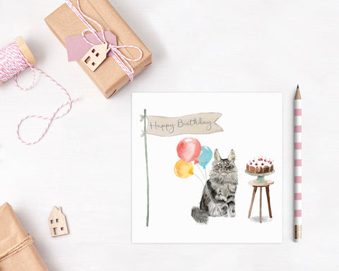 Maine Coon Cat Birthday Card - Pack of Ten
