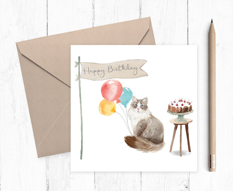 Siberian Cat Birthday Card
