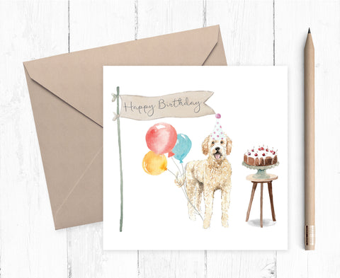 Golden Doodle Birthday Card
