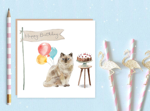 Ragdoll Cat Birthday Card