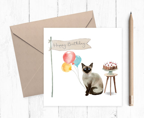 Siamese Cat Birthday Card