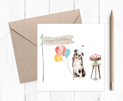 Australian Sheepdog Birthday Card