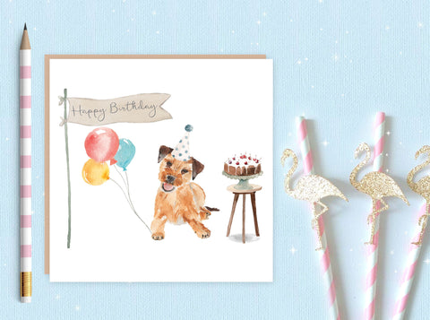 Border Terrier Birthday Card - Pack of Ten Cards