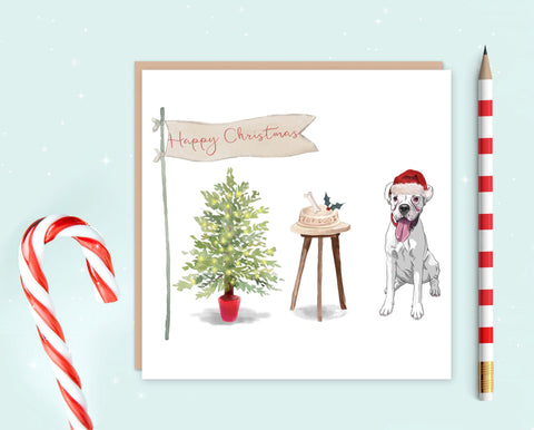 White Boxer Christmas Card - Pack of 10 - Christmas Gift for Dog Lovers