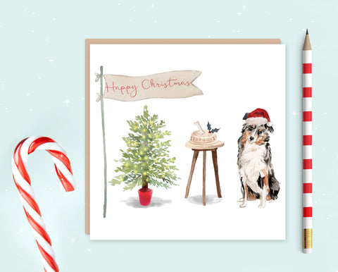Australian Shepherd Christmas Card - Pack of 10 - Christmas Gift for Dog Lovers