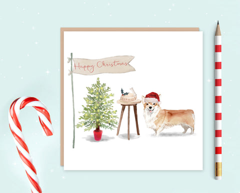 Corgi Christmas Card - Pack of 10 - Christmas Gift for Dog Lovers