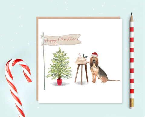 Blood Hound Christmas Card - Pack of 10 - Christmas Gift for Dog Lovers
