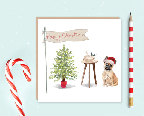 French Bulldog Christmas Card - Pack of 10 - Christmas Gift for Dog Lovers