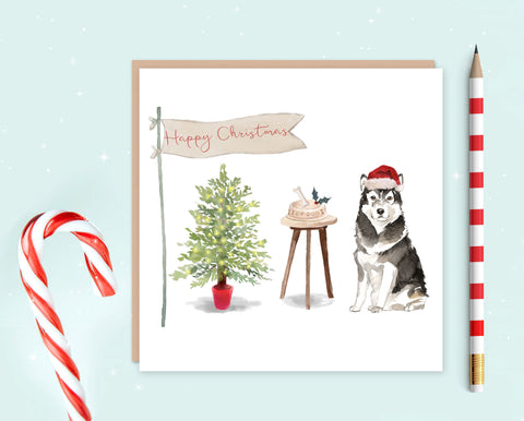 Malamute Christmas Card - Pack of 10 - Christmas Gift for Dog Lovers