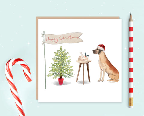 Great Dane Christmas Card - Christmas Gift for Dog Lovers