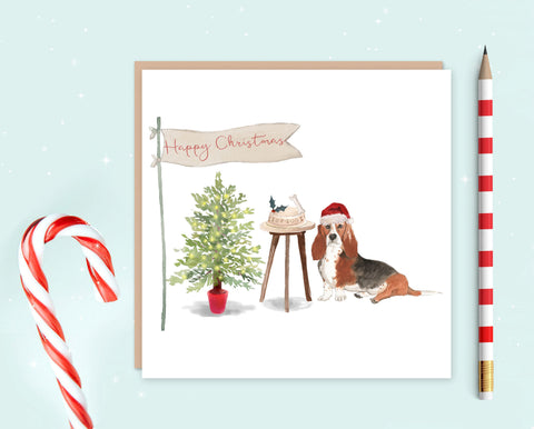 Basset Hound Christmas Card - Pack of 10 - Christmas Gift for Dog Lovers