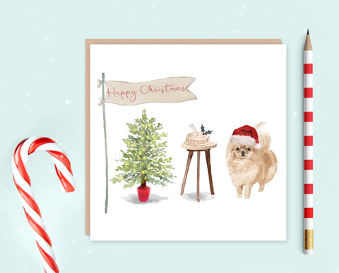 Pommeranian Christmas Card - Pack of 10 - Christmas Gift for Dog Lovers