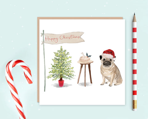 Pug Christmas Card - Pack of 10 - Christmas Gift for Dog Lovers